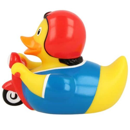 Rubber duck on scooter