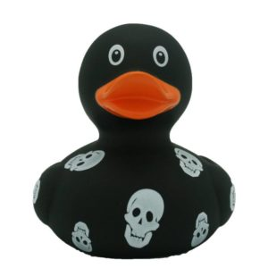 Black rubber duck with skulls